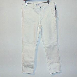 ASOS Crisitina White Denim Skinny Cropped Jeans